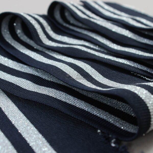 tamsiai melynas ribb su sidabro metalik juosta