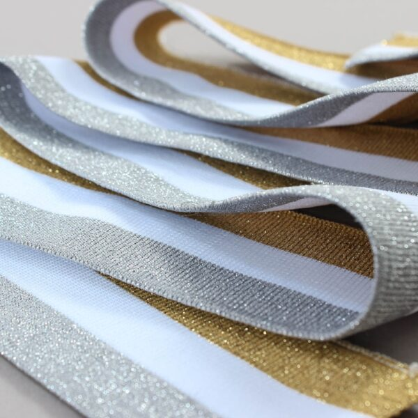 sibarine, balta, auksine juostuota ribb juosta