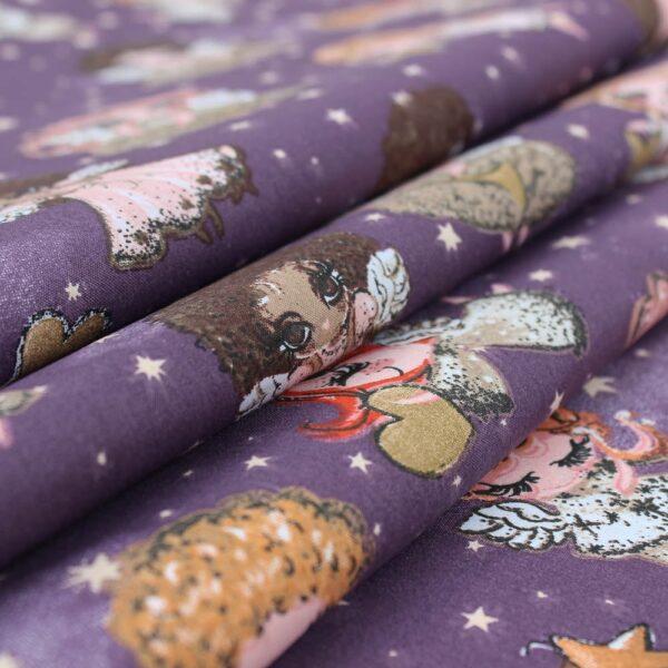 medvilnine patalyne, violetine, angelai