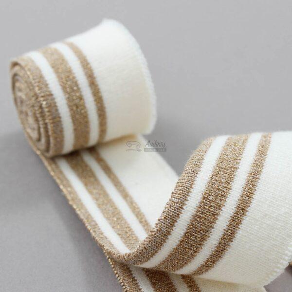 pieno baltas su auksu ribb juosta