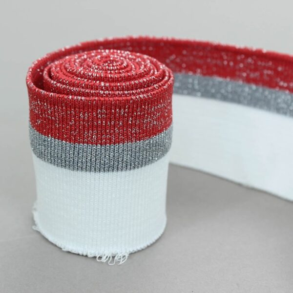 balta raudona ribb juostta su metalik pilka juostele