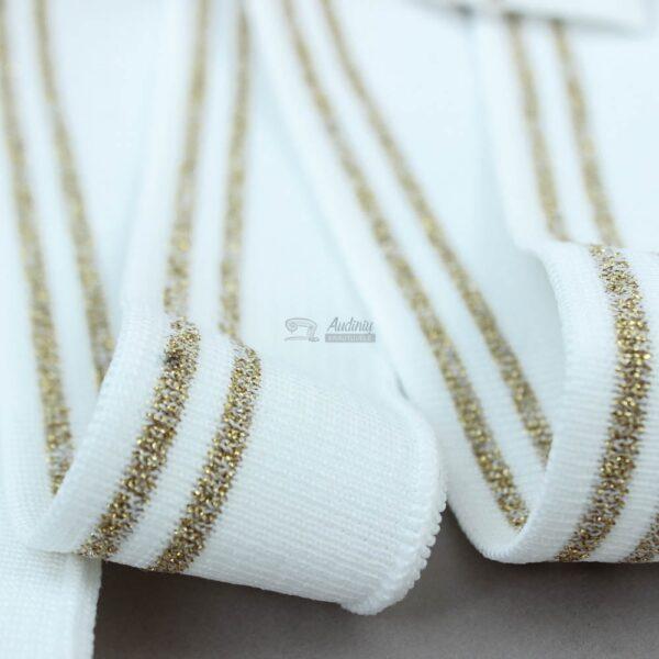 balta ribb juosta su aukso metalik juostele