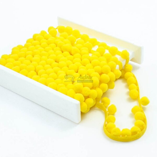geltonos spalvos pom pom juosta