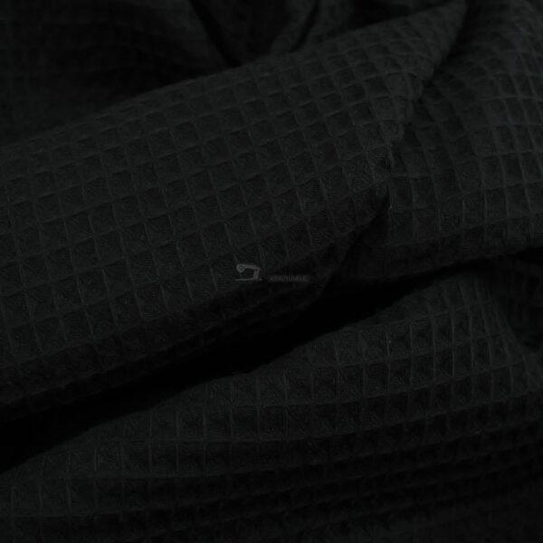 juodos spalvos medvilninis vaflinis audinys