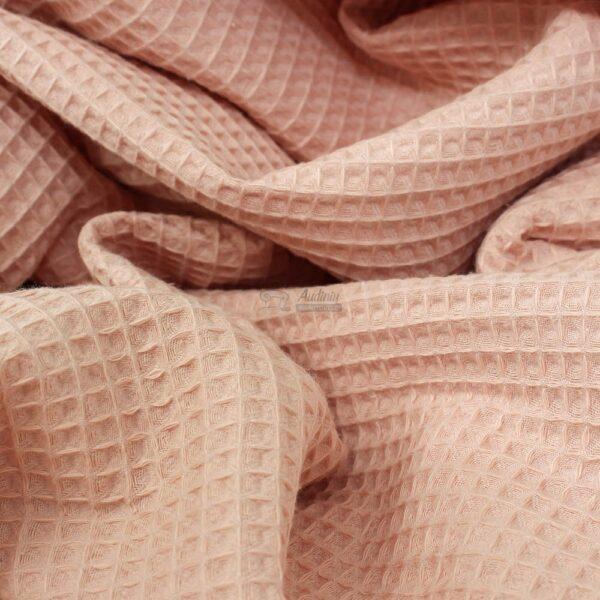 medvilninis valflis pelenu rozines spalvos